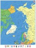 Mapa político el Océano ártico e indicadores planos del mapa Imagenes de archivo