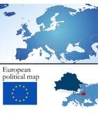 Mapa político europeu Imagens de Stock