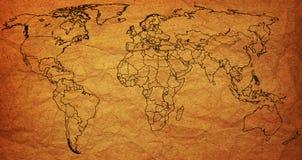 Mapa político muito velho do mundo Imagens de Stock Royalty Free