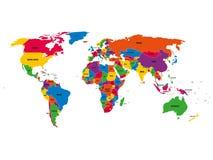 Mapa político multicolor del vector del mundo con las fronteras nacionales y los nombres de país en el fondo blanco Foto de archivo