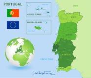 Mapa político verde del vector de Portugal stock de ilustración
