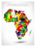 Mapa poligonal abstracto del diseño geométrico de África Foto de archivo libre de regalías