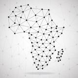 Mapa poligonal abstrato de África com pontos e linhas, conexões de rede Fotos de Stock
