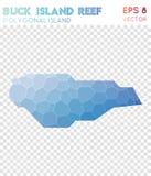 Mapa poligonal de Buck Island Reef, estilo del mosaico ilustración del vector