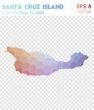 Mapa poligonal de Santa Cruz Island, estilo do mosaico Imagens de Stock