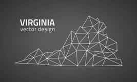 Mapa poligonal del triángulo del esquema del vector del negro de Virginia ilustración del vector