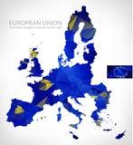 Mapa poligonal geométrico del vector del diseño de la unión europea Fotografía de archivo libre de regalías