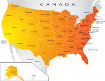 mapa polityczni usa Obraz Stock