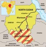 mapa polityczny Sudan Zdjęcia Stock
