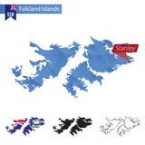 Mapa polivinílico bajo azul de Falkland Islands con el capital Stanley ilustración del vector