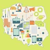 Mapa Polska z technologii ikonami Obrazy Stock