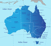 Mapa político de Austrália Imagens de Stock