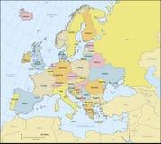 Mapa político de Europa Imagen de archivo libre de regalías