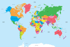 Mapa político do vetor do mundo Foto de Stock Royalty Free