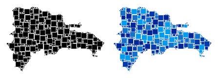 Mapa pontilhado da República Dominicana com variação azul ilustração do vetor