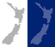 Mapa pontilhado de Nova Zelândia ilustração royalty free