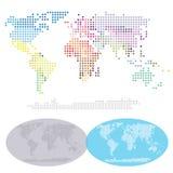 Mapa pontilhado dos continentes do mundo Foto de Stock Royalty Free