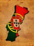 Mapa português com bandeira Imagem de Stock Royalty Free