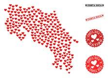 Mapa precioso del collage de Costa Rica y de los sellos del Grunge para las tarjetas del día de San Valentín stock de ilustración