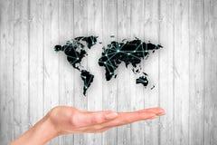 Mapa preto na parede de madeira cinzenta Imagem de Stock Royalty Free