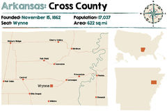 Mapa Przecinający okręg administracyjny, Arkansas Fotografia Stock