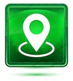 Mapa punktu ikony neonowy jasnozielony kwadratowy guzik ilustracji