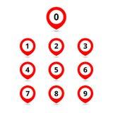 Mapa punktu ustalone ikony z liczbami Wektorowe coloful ilustracje Zdjęcie Stock