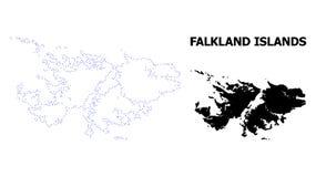Mapa punteado contorno del vector de Falkland Islands con el subtítulo stock de ilustración