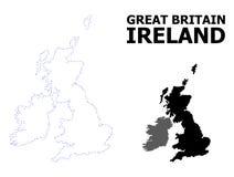 Mapa punteado contorno del vector de Gran Bretaña y de Irlanda con el subtítulo stock de ilustración