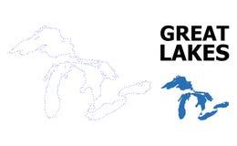 Mapa punteado contorno del vector de Great Lakes con el subtítulo stock de ilustración