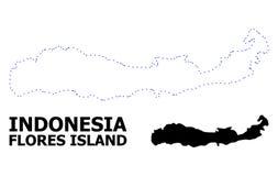 Mapa punteado contorno del vector de la isla de Indonesia - de Flores con nombre stock de ilustración