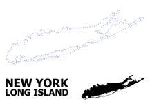 Mapa punteado contorno del vector de Long Island con nombre libre illustration