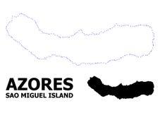 Mapa punteado contorno del vector del sao Miguel Island con nombre ilustración del vector