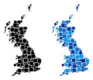 Mapa punteado de Gran Bretaña con variante azul ilustración del vector