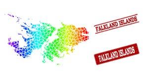 Mapa punteado del espectro de los sellos del sello de Falkland Islands y del Grunge libre illustration