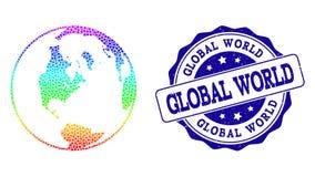 Mapa punteado del espectro del mundo y del sello globales del sello del Grunge ilustración del vector