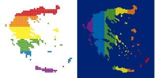 Mapa punteado pixel de Grecia del espectro ilustración del vector