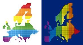 Mapa punteado pixel de la unión europea del espectro stock de ilustración