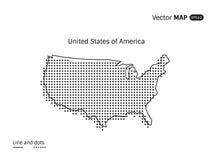 Mapa punteado vector de los E.E.U.U. Imagen de archivo libre de regalías