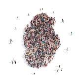 Mapa Qatar de la forma del grupo de la gente Stock de ilustración