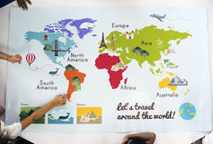Mapa que mostra a geografia do oceano dos países dos continentes do mundo imagem de stock royalty free