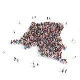 Mapa República Democrática del Congo de la forma del grupo de la gente Foto de archivo libre de regalías