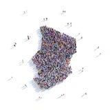 Mapa República eo Tchad de la forma del grupo de la gente Ilustración del Vector