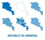 Mapa republika Armenia - wektorowy ustawiający sylwetki ilustracja wektor