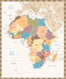 Mapa retro del vintage de África Fotografía de archivo libre de regalías