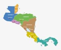 Mapa środkowy America stany Zdjęcie Stock