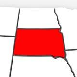 Mapa rojo Estados Unidos América del estado del extracto 3D de Dakota del Sur Foto de archivo libre de regalías