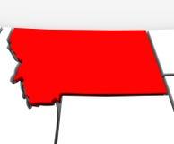 Mapa rojo Estados Unidos América del estado del extracto 3D de Montana Foto de archivo
