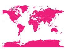 Mapa rosado del mundo Mapa político del alto espacio en blanco del detalle Vector el ejemplo con la trayectoria compuesta etiquet ilustración del vector