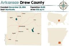 Mapa Rysował okręg administracyjnego, Arkansas Obraz Royalty Free